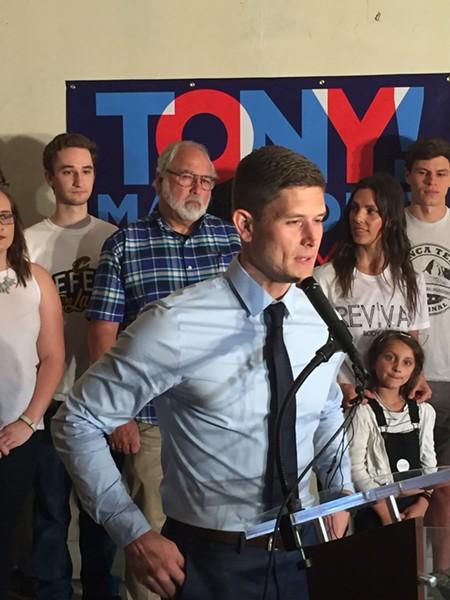 Madalone, announcing his mayoral candidacy Wednesday. - SAM ALLARD / SCENE