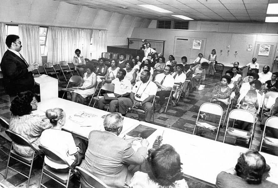 Meeting of the Lee-Harvard Community Association, 1979 - PHOTO COURTESY OF THE CLEVELAND PRESS COLLECTION, CLEVELAND STATE UNIVERSITY LIBRARY