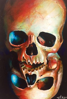 "Tim Kocevar's ""Duality,"" acrylic on canvas. On view as part of the Skull & Skeleton in Art V: Folk Art to Pop Culture at the Gallery at Lakeland."