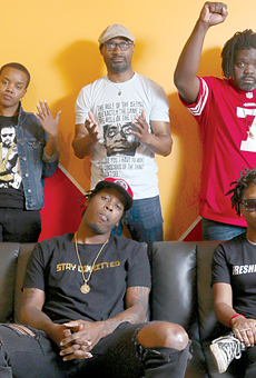 A cross-section of Cleveland's rap scene: (Clockwise from top left) Producer and DJ Red-I of FreshProduce; poet, rapper, and educator Daniel Gray-Kontar; Grog Shop promoter Wallace Settles; rapper Playne Jayne; rapper Paper Paulk.