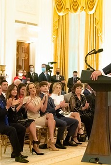President Trump addresses Gold Star Families on Sunday, Sept. 27, 2020. In later interviews, he surmised they could have been the source of his COVID-19 infection.