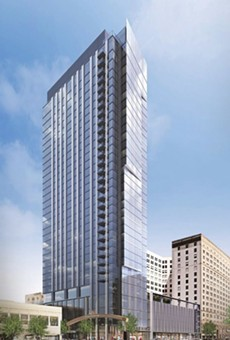 Rendering of the Lumen, the 34-story residential tower going up in Playhouse Square.