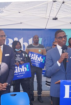 Justin Bibb accepts the endorsment of Zack Reed in Mt. Pleasant, (9/29/2021).