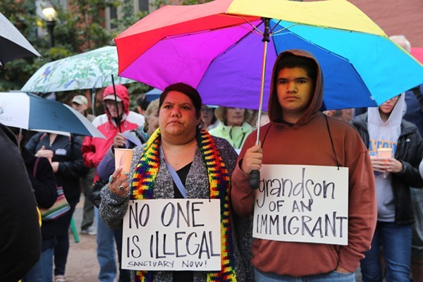 DACA rally in Ohio City earlier this year. - PHOTO BY EMMANUEL WALLACE
