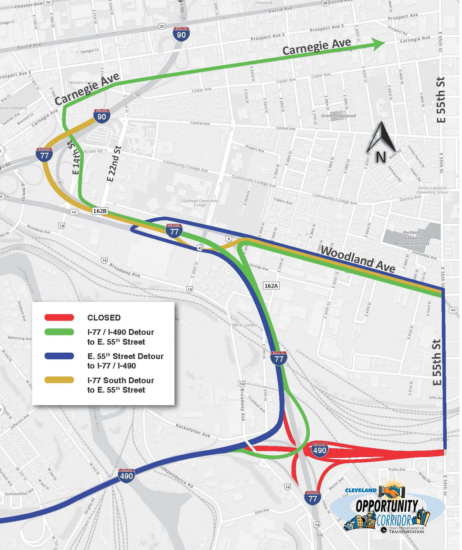 I-490 to Close Between I-77 and East 55th for Two Years of