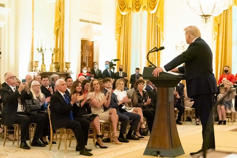 President Trump addresses Gold Star Families on Sunday, Sept. 27, 2020. In later interviews, he surmised they could have been the source of his COVID-19 infection. - OFFICIAL WHITE HOUSE PHOTO BY DELANA SCOTT
