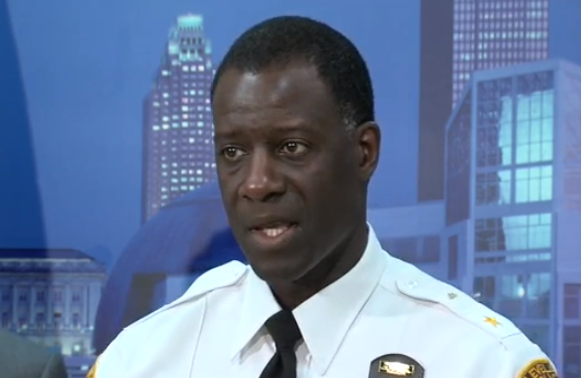 Police Chief Calvin Williams sheds tears as he discusses the recent shootings in Cleveland. - WEWS STILL