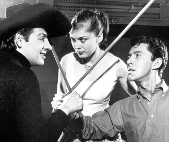 "Jerry Orbach, Rita Gardner, and Kenneth Nelson in the original 1960 production of ""The Fantasticks."""