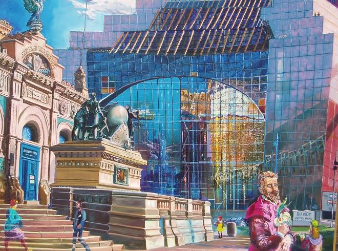 Anthony Eterovich's Cleveland Renaissance Visitors, oil on canvas, 40 in. by 50 in., c. 1990.