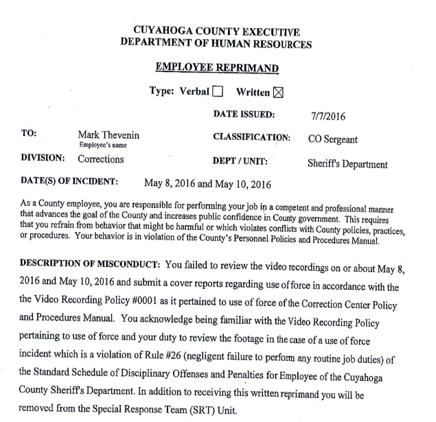 Cuyahoga County Jail Supervisor Disciplined After Failing to