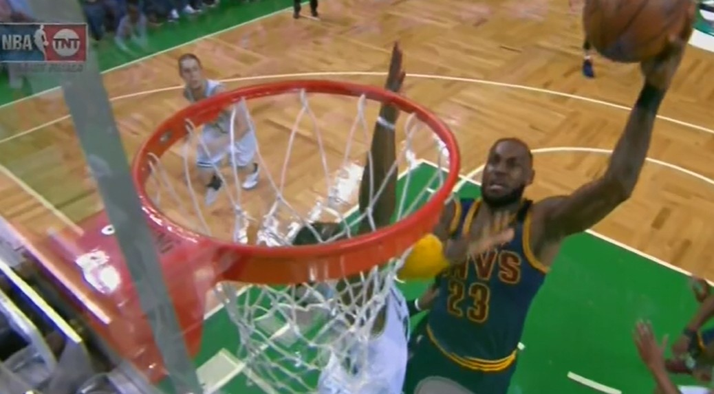 "LeBron went around, over and through the Celtics like they had the ""Yield."""