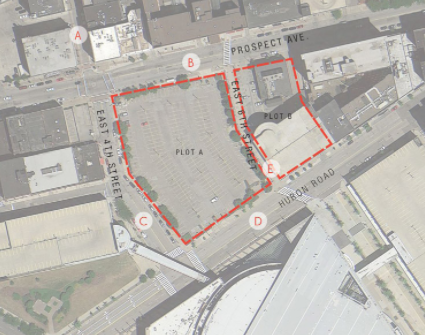 The nuCLEus site is presently an open parking lot located between Prospect and Huron, across from Quicken Loans Arena. - CLEVELAND PLANNING COMMISSION