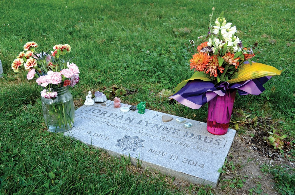 Jordan Davis' resting place in Evergreen Hill Cemetery in Chagrin Falls - PHOTO BY ERIC SANDY