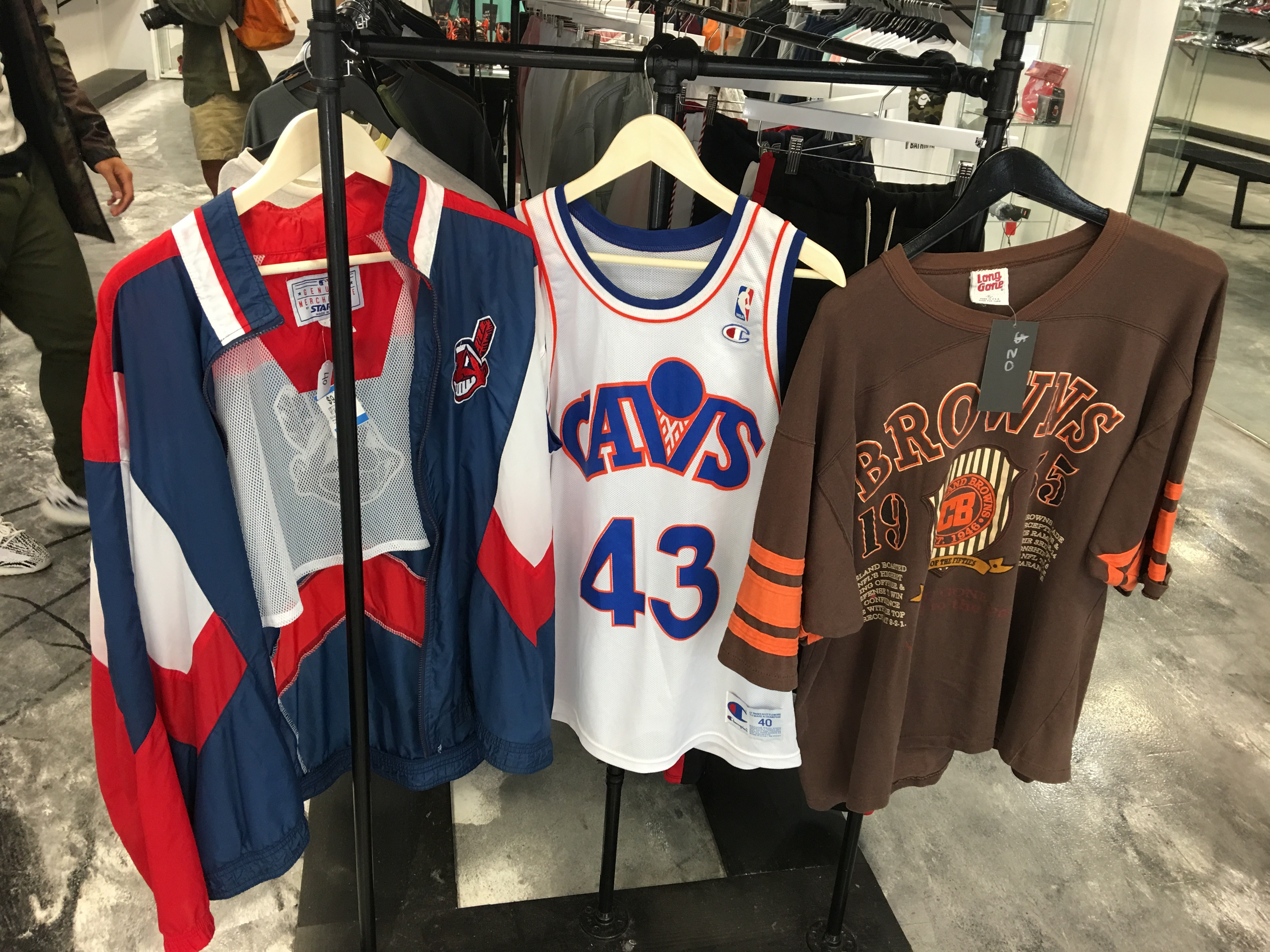click to enlarge Vintage Indians jacket, Brad Daugherty Cavaliers' Jersey  and a Browns sweatshirt - BRETT ZELMAN