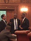 L-R: Jeff Johnson, Kevin Conwell, Zack Reed; one half of City Council's opposition on the Q deal.