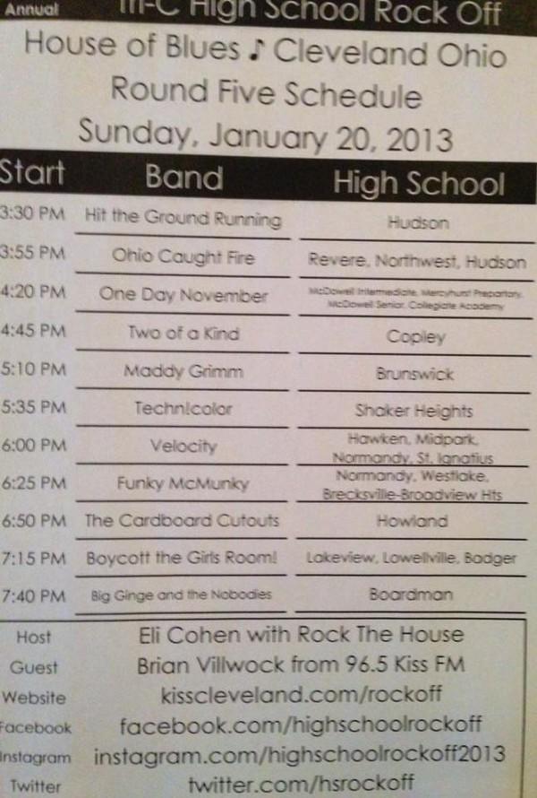 High School Rock Off Round 5