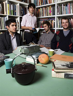 Vampire Weekend: No wonder they know so much about Oxford commas. Look at all those books!