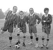 Weezer frontman Rivers Cuomo (second from left), having a ball.