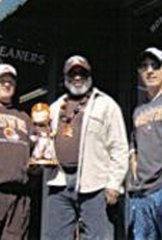 What can Brown do for you? Jay, George, and their buddy from Bay Village claim home-field advantage at the Field House.
