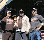 What can Brown do for you? Jay, George, and their buddy from Bay Village claim home-field advantage at the Field House. - THOMAS  FRANCIS