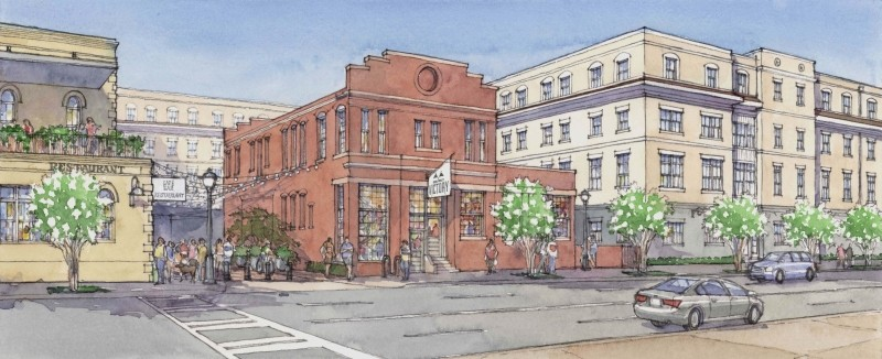 A rendering of One West Victory shows historic buildings incorporated into new construction.