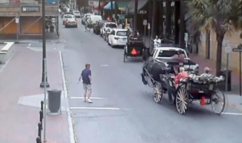 A screen grab from the surveillance video of the April 14 incident
