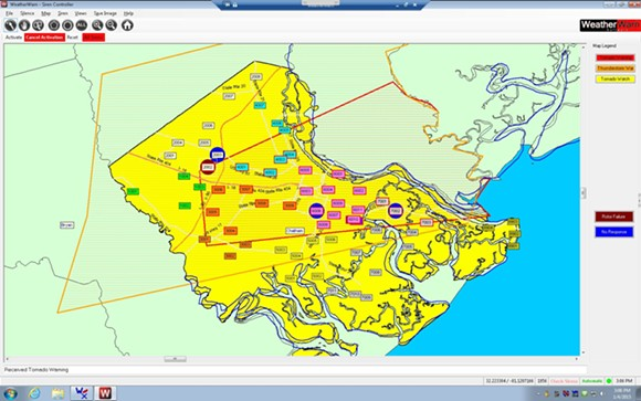 """A snapshot of the activated sirens and the warning """"polygon.""""  The yellow indicates that the entire county is in a watch. The boxes represent siren sites and those outlined in red were activated in the warning."""