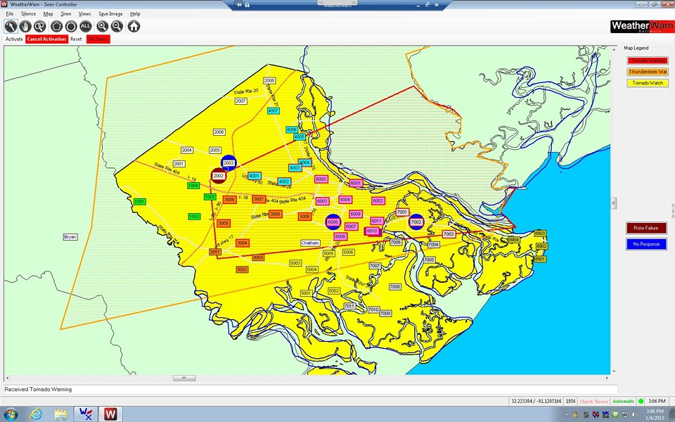 "A snapshot of the activated sirens and the warning ""polygon.""  The yellow indicates that the entire county is in a watch. The boxes represent siren sites and those outlined in red were activated in the warning."