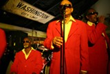 A view of some of the Blind Boys from the front row at Cafe Loco