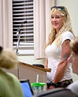 JON WAITS/@JWAITS - Activist Ashley Workman at last week's Tybee City Council meeting