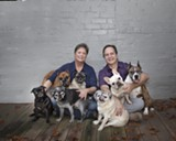 Allison and Jerry Connor have rescued and fostered dozens of dogs, including one-eyed Tess (far right). Photo by Becky Smith/Photos by Becky