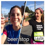 Apparently, post-marathon beer drinking is a thing.