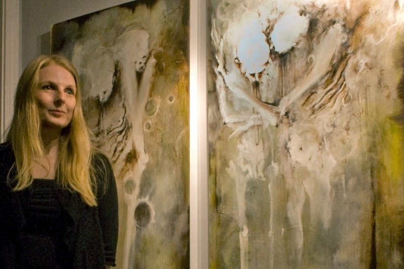 "Axelle Kieffer, pictured in front of ""Invitation au Voyage,"" explores the beauty in the human body in her upcoming exhibition at The Butcher."