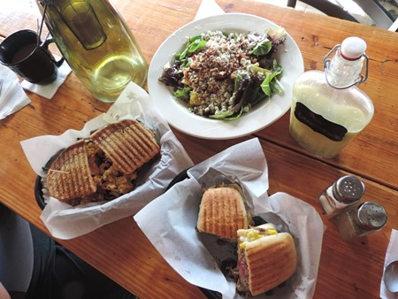 Below, Winter Bleus Salad, Cuban sandwich, and BBQ Mac 'n' Cheese.