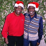 "Ben Tucker (left) and Teddy Adams. I took this photo last year, at ""Jazz Yule Love"" time."