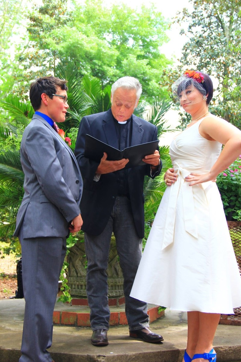 Chela Gutierrez (l.) married Cody Shelley in front of God and everybody in a ceremony presided over by sometimes-minister Roy Wood. - MEGAN DAVIS