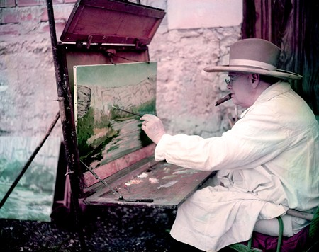 Churchill painting a view of the Sorgue River while on vacation in the south of France, January 1, 1948 (Photo by Frank Scherschel/The LIFE Picture Collection/Getty Images).