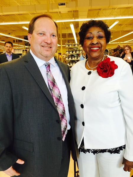 Coastal Empire Habitat for Humanity Executive Director Michael Weathers cut the ribbon on the new ReStore on MLK Blvd. with Mayor Edna Jackson.