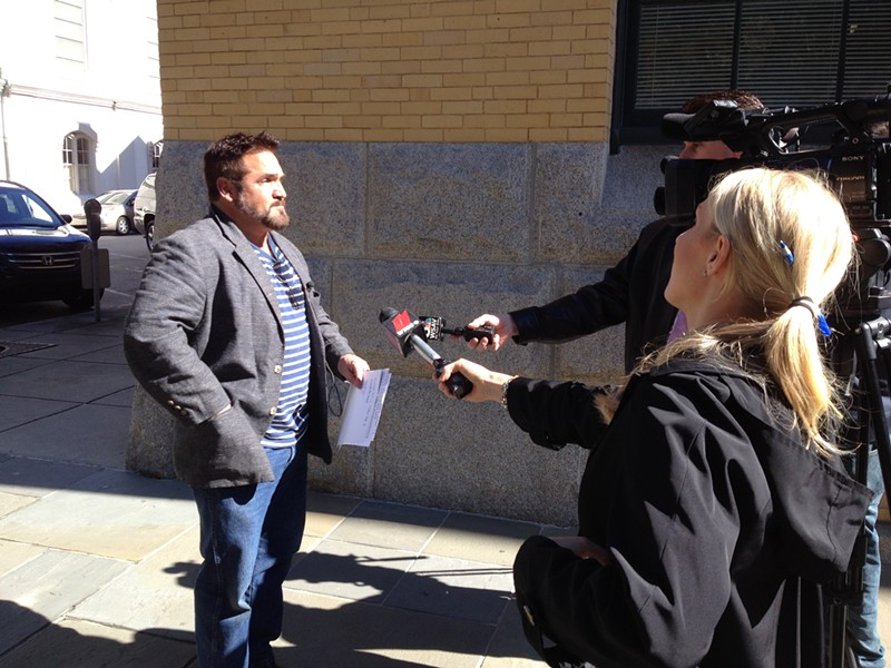 County Commissioner Dean Kicklighter showed up at the Common Cause of GA press conference to respond to the allegations against him. - JIM MOREKIS