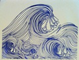 ">Detail from ""Waves,"" an ink-on-vellum study showing at Fresh Exhibitions Gallery through March 15."