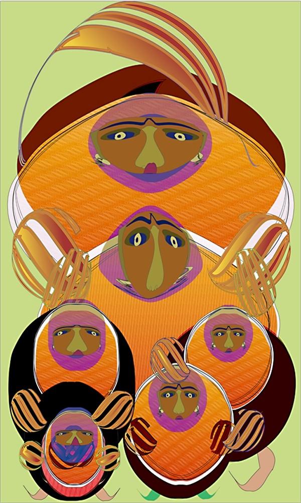 'Family of Six,' digital Illustration, archival inks on canvas   by Clara Aguero Ortiz