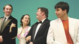 """JENNIFER INCORVAIA - Fun on the Riviera: John Martin, left, Eve Butler, Jonas Boyd and Brett Levine star in AASU's production of """"Dirty Rotten Scoundrels."""""""