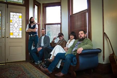 Gang's all here: Coy Campbell, Stu Harmening, Markus Kuhlmann, Rachael Shaner, and Igor Fiksman comprise the Nightingale News live band. - JON WAITS/@JWAITSPHOTO