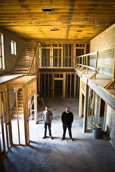 Garage, Inc.: Motlagh, left and Collett, right, in the space's common area. - JON WAITS/@JWAITSPHOTO