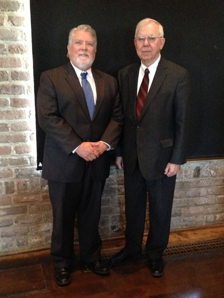 Georgia Legal Services Program managing attorney Bill Broker (l.) and Georgia Supreme Court Chief Justice Hugh P. Thompson honored GLPS pro bono lawyers last Friday at the Morris Center.