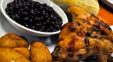 Grilled chicken, black beans and plantains