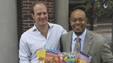 Hartford Gongaware and Jay Jones with books from the In2Books reading and writing project