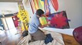 "James ""Dr. Z"" Zdaniewski adds layers of paint (all photos by Geoff L. Johnson)"