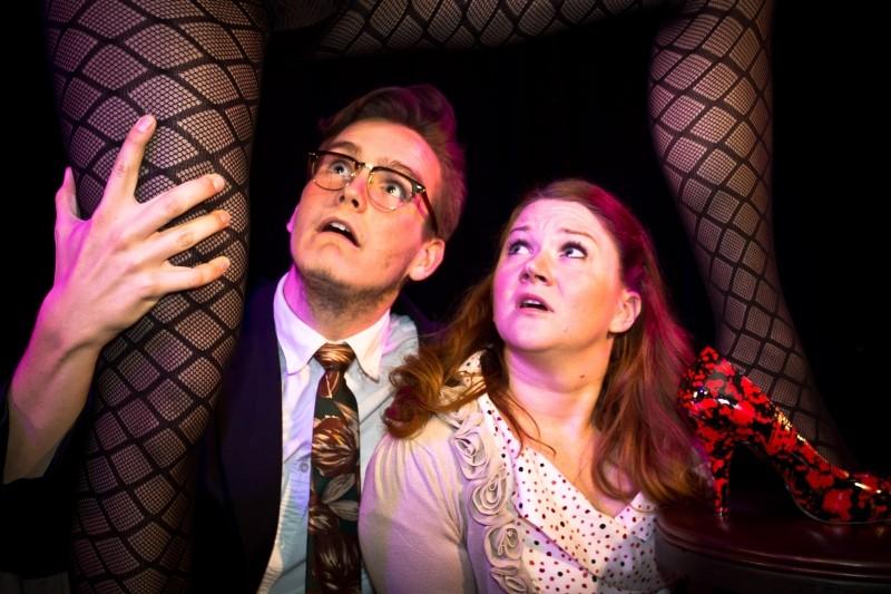Justin P. Kent, playing Dr. Frank-N-Furter, gets a leg up on Ford Alexander Phillips (Brad) and Megan McGarvey (Janet). Photo by Jon Waits/jwaitsphoto