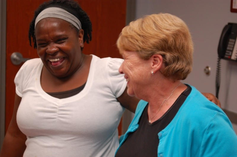 'Laughter is medicine' is not just a phrase, it's a scientific fact. One aspect of the Canyon Ranch Institute Life Enhancement Program is to experience joy as part of everyday life. Savannah CRI Life Enhancement Program participant Glennis Cadel and Christine Ferrelle, PNP, Nurse Practitioner on theCRI Life Enhancement Program Core Team enjoy the graduation of the first CRI Life Enhancement group at Curtis V. Cooper Primary Health Care.